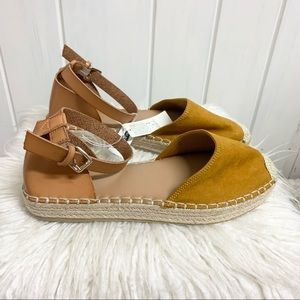 Old Navy Mustard Faux Leather/ Suede Espadrilles